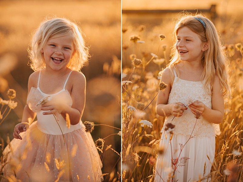 little girl picking flowers, sunkissed blonde girl, family portraits at sunset