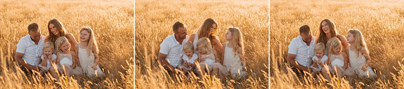 little girls and parents in paddock, portrait of 3 girls, family portraits at sunset