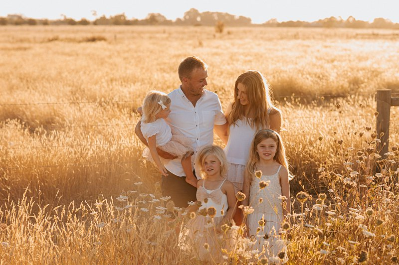 sunset family portrait, golden grass, sunset family