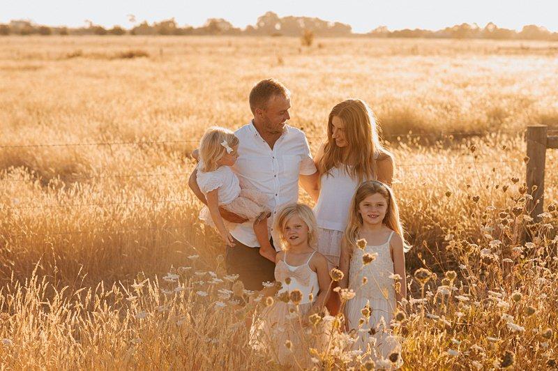 sunset family portrait, golden grass, sunset family