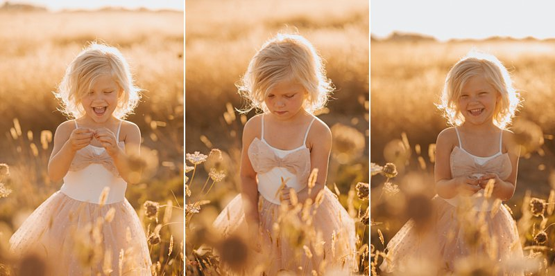 little gir in field at sunset, laughing kids portrait, sunset kids portraits