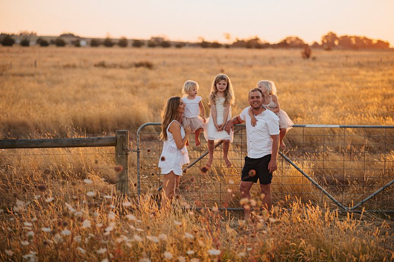 relaxed family portrait, sunset family portrait, family in paddock at sunset