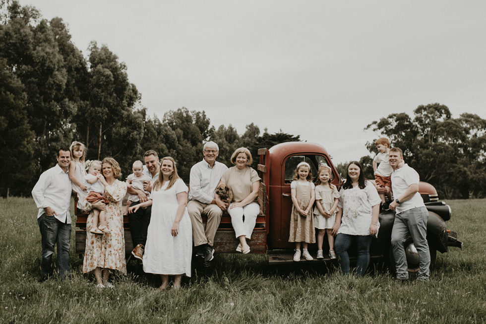Rustic natural family portraits; old bedford truck