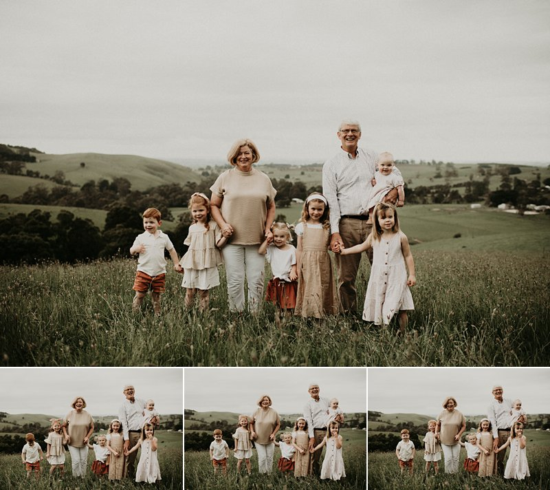 extended family portraits; grandparents; grandkids; family farm