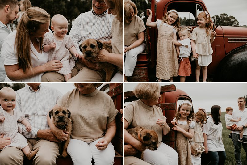 old bedford truck; farm kids; rustic tones family shoot; extended family portraits; grandkids; family farm; dogs and family portraits