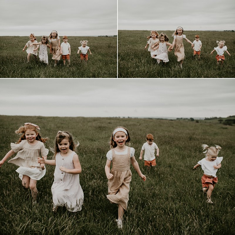 farm kids; rustic tones family shoot; extended family portraits; grandkids; kids running in paddock portrait