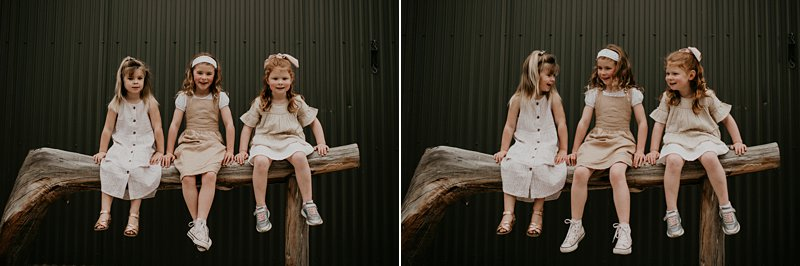 farm kids; rustic tones family shoot; extended family portraits; grandkids; family farm old shed