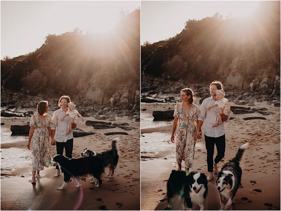 Kilcunda beach sunset shoot, family shoot with dogs